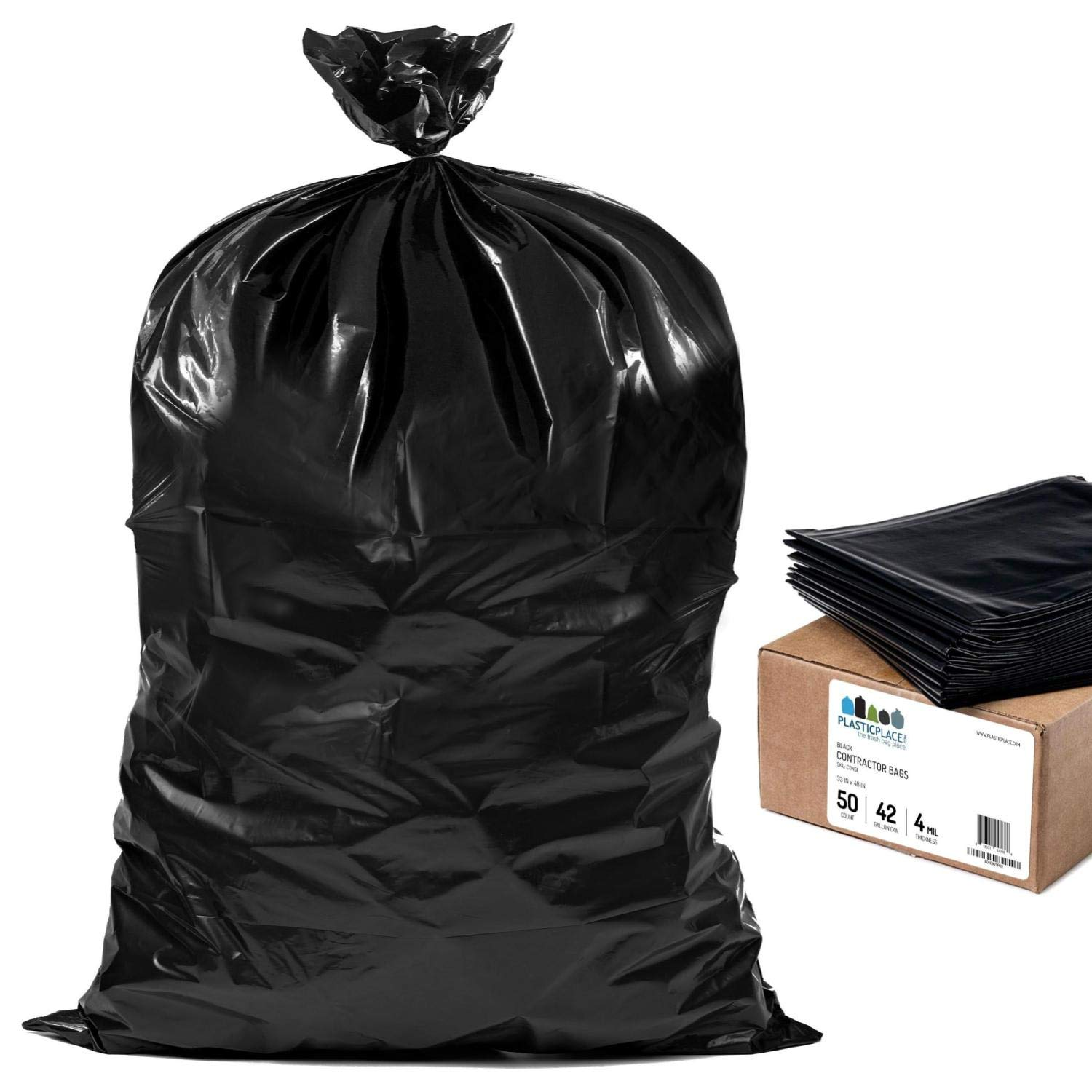 Plasticplace Contractor Trash Bags 42 Gallon │ 4.0 Mil │ Black Heavy Duty Garbage Bag │ 33'' x 48'' (50 Count) by Plasticplace