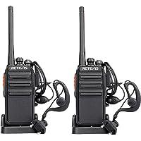 Retevis RT24 Talkie Walkie PMR446 sans Licence 16 Canaux Radio Bidirectionnelle CTCSS/DCS avec Chargeur Européen et Écouteurs (Noir, 1 Paire)