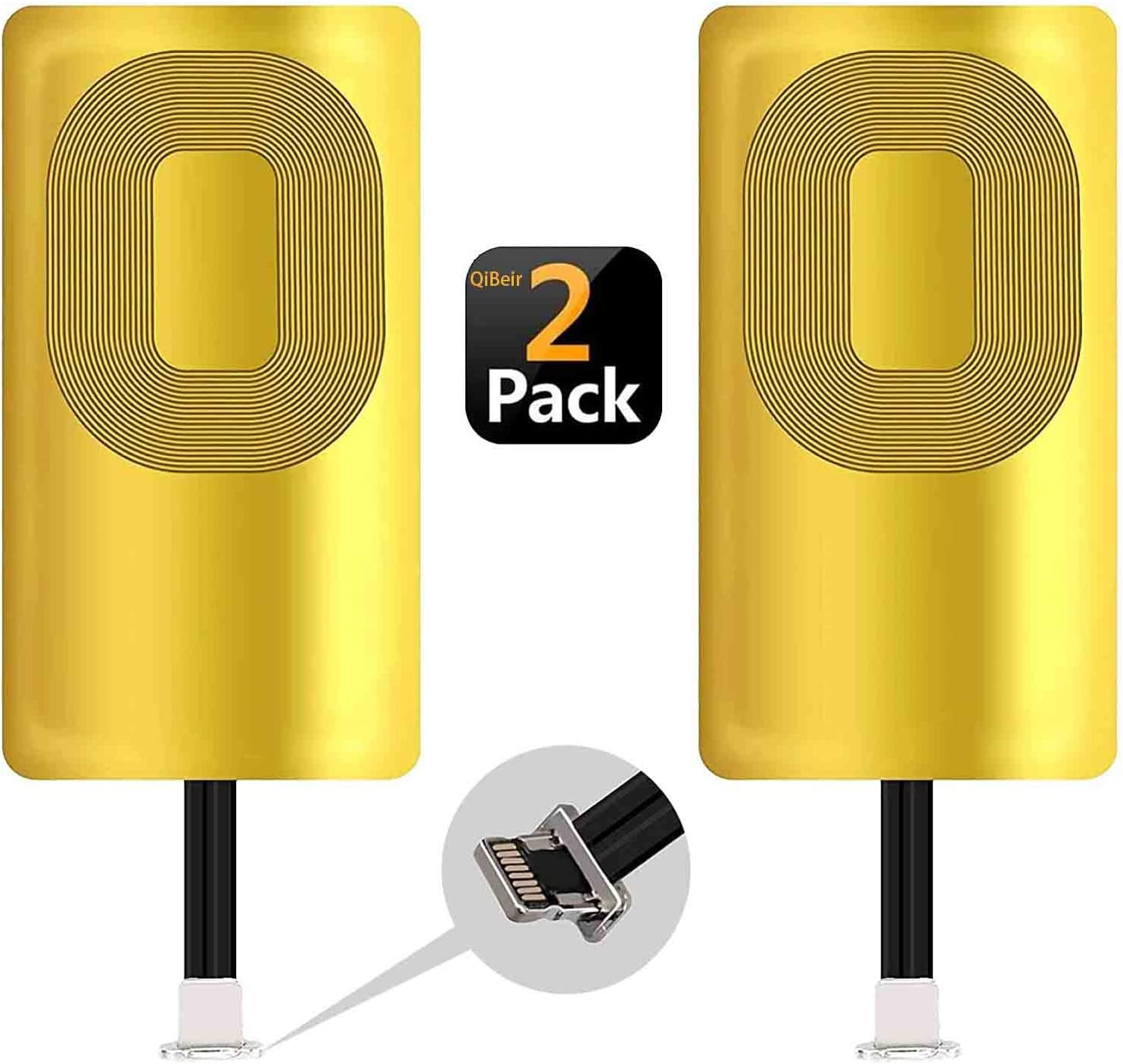2 Pack QI Receiver Wireless Charging Receiver for iPhone 7/7 Plus/6/6 Plus/6s/6s Plus/5/5s/5c /SE Ultra-Slim iPhone Wireless Receiver 5W 1000mAh QI Charging Receiver iPhone (2PCS)