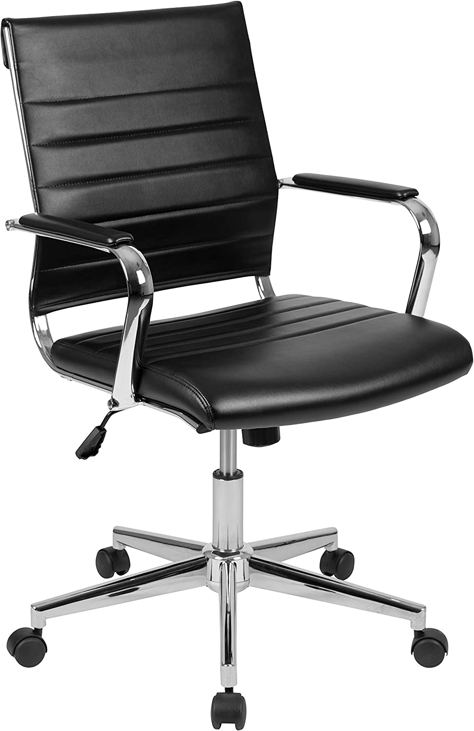 Flash Furniture Mid-Back Black LeatherSoft Contemporary Ribbed Executive Swivel Office Chair