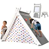 Merax Foldable Triangle Climber, 4-in-1 Kids Hideaway Play Tent with Art Easel, Stool for Toddlers 1 3 5 y.o, Climbing Triang