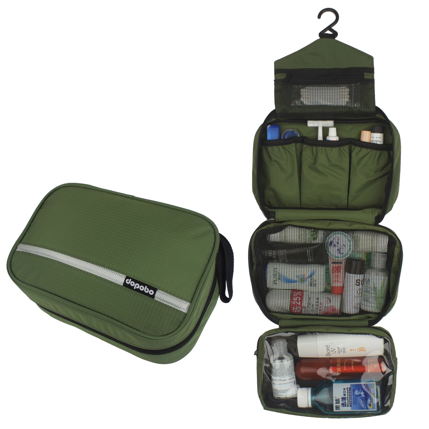 Dopobo Travelling Toiletry Bag Portable Hanging Water-Resistant Wash Bag for Travelling, Business Trip, Camping (army green) by Dopobo (Image #2)