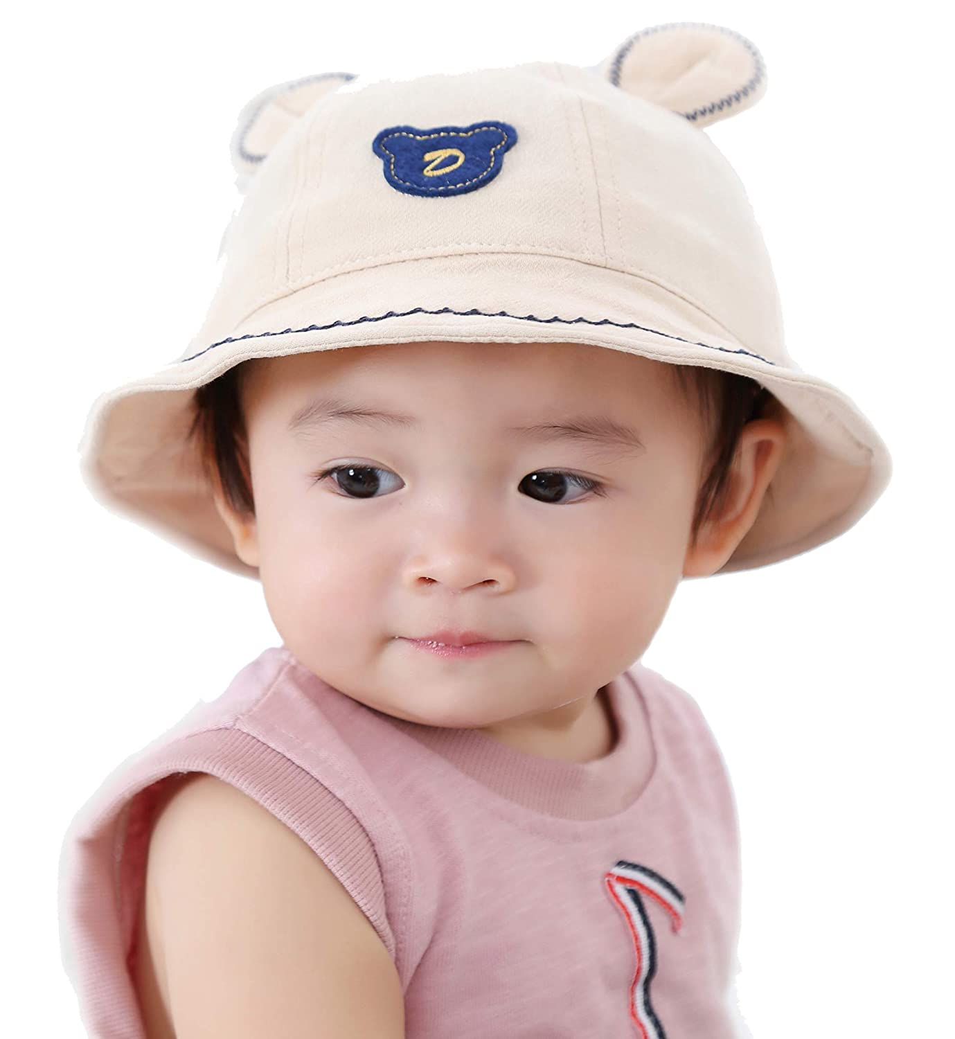 0dc22884 Amazon.com: Bonvince Baby Sun Hat with Chin Strap, Cotton Toddler Kids Sun  Bucket Cap for Boys Spring Summer UPF 50+ Beige: Clothing