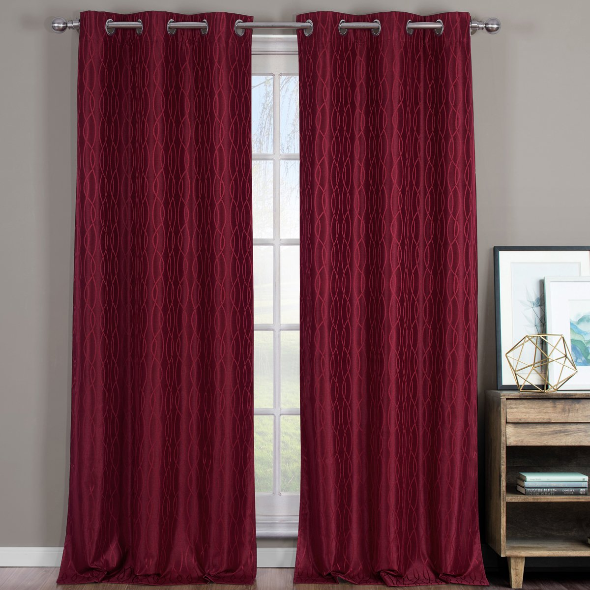 Voyage Jacquard Burgundy, Top Grommet Blackout Window Curtain Panels by Royal Hotel