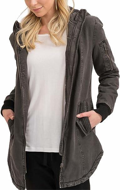 trueprodigy Casual Damen Marken Parka Aufdruck Damenjacke Cool Stylisch Kapuze sportlich Slim Fit Jacke für Frauen
