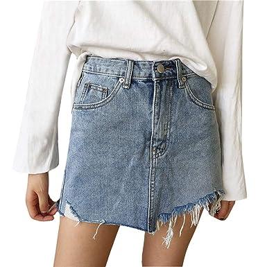Hokoaidel Falda Vaquera Mujer Mini Jeans Casual, Falda Vaquera ...