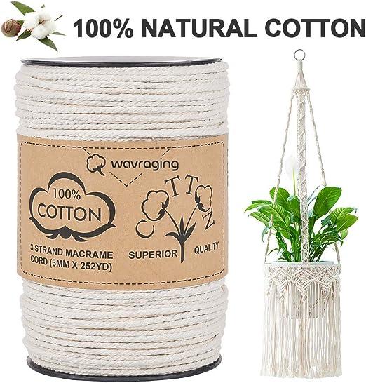 Wavraging Macrame Cord 3mmx252 Yardas, 100% algodón natural sin ...