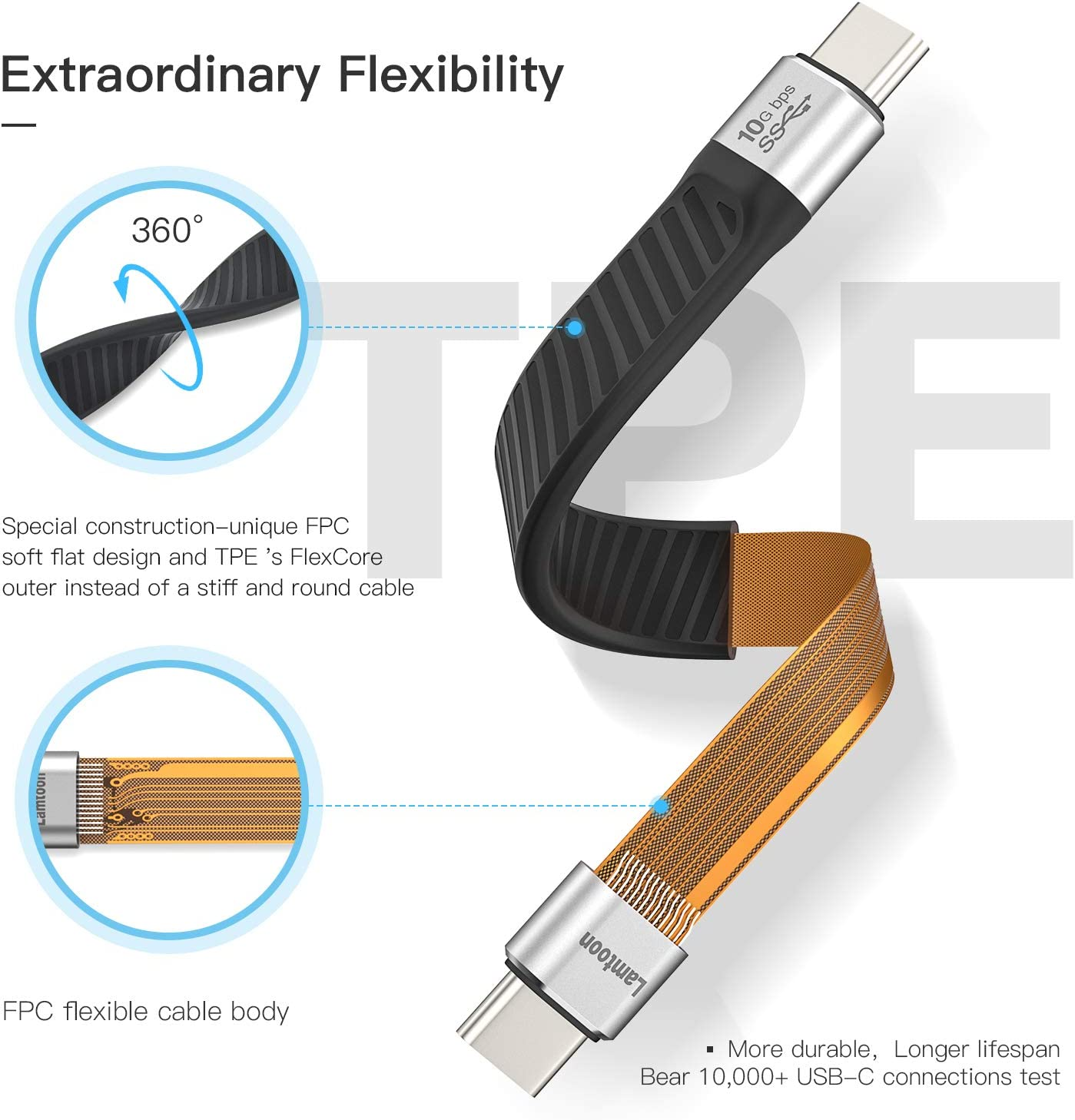 Short USB C 3.1 Cable,Lamtoon USB 3.1 Gen 2 100W USB C to C Fast Charging Cable FPC Design with 10Gbps Data Transfer,4K@60Hz Video and Audio Output,Thunderbolt 3 for MacBook Pro Air2020,Samsung S20