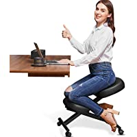 Himimi Ergonomic Kneeling Chair - Faux Leather - Thick Comfortable Moulded Foam Cushions - Brake Casters, Adjustable…