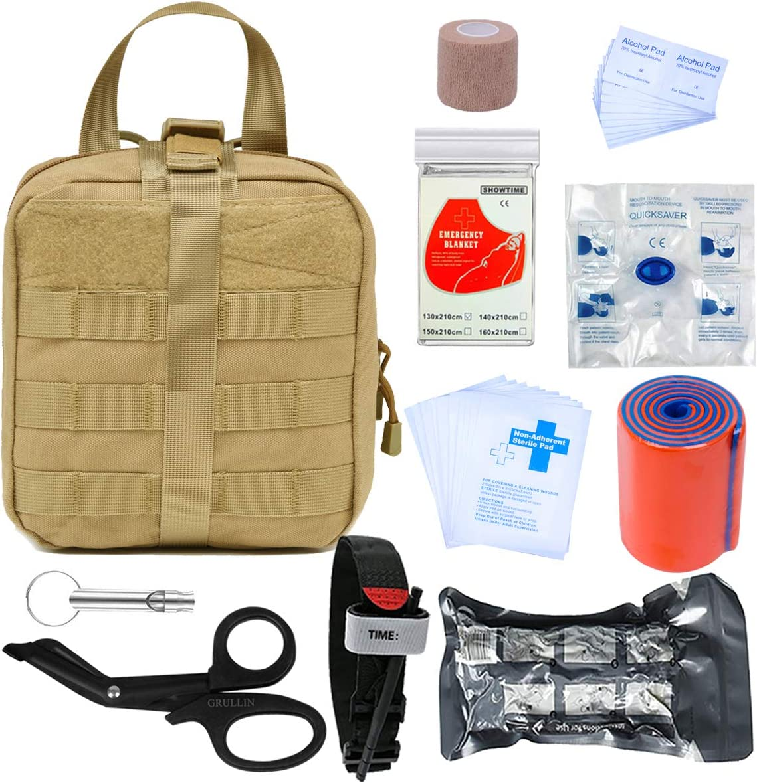 GRULLIN Botiquines de Primeros Auxilios 39 Piezas Portatil Vendaje israelí torniquete tactico Botiquin Supervivencia, Kits de Primeros Auxilios para Exteriores, Sala, automóvil