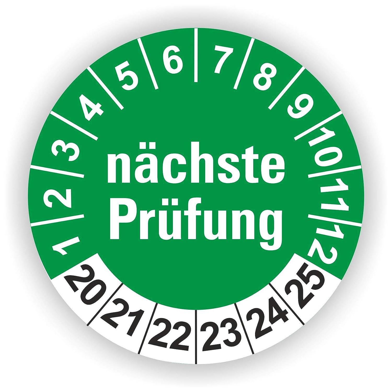 5-1.000 St/ück Pr/üfplaketten Pr/üfetiketten Wartungsetiketten n/ächste Pr/üfung /Ø 40mm Blau 10 St/ück