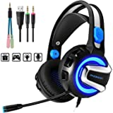 PHOINIKAS H4 Stereo Gaming Headset for PC, PS4, Laptop, Xbox One, Nintendo Switch Games,with Mic,LED Light Splitter,Free Adapter,Volume Control Headphones to 3.5mm,Soft Memory Earmuffs (Blue)
