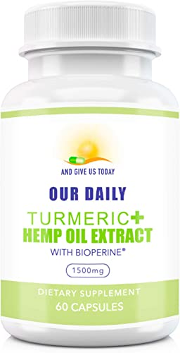 Our Daily Vites Turmeric Curcumin 1500 mg with Hemp Oil Extract Isolate and BioPerine. Joint Pain Relief, Anti Inflammatory, Anti Anxiety. Stress and Sleep Support Supplement 60 Capsules