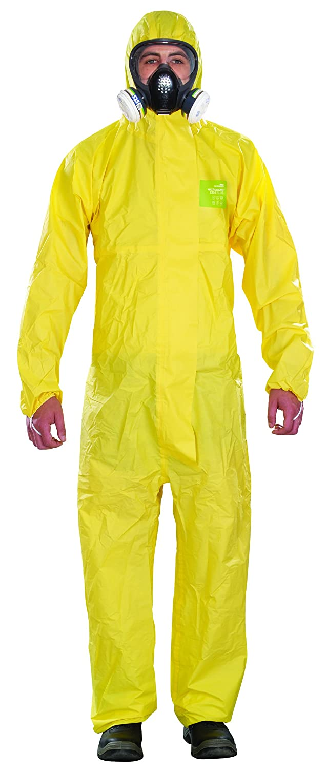 Yellow 3X-Large Ansell YY23T-00132-07 Microgard 2300 Plus Hooded Coverall