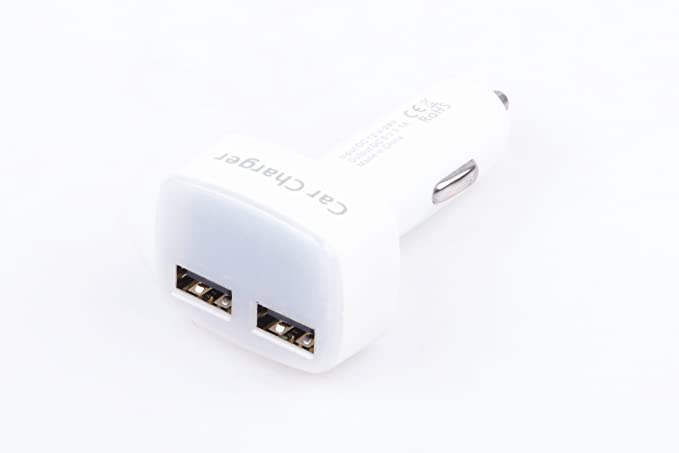 KNACRO 4 In 1 Car Charger 3.1A Dual USB Charger Voltage Display Current Monitoring Vehicle Temperature Monitoring White Body Blue Led Display