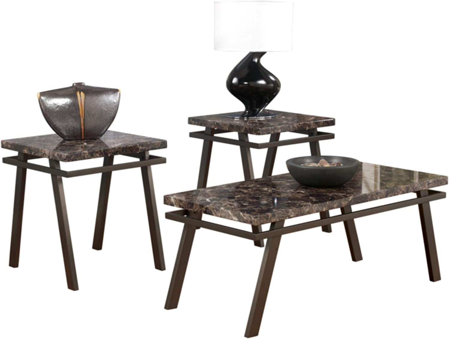 Ashley Furniture Signature Design Paintsville Occasional Table Set Contains Cocktail Table 2 End Tables Contemporary Bronze Finish Amazon Ca Home Kitchen