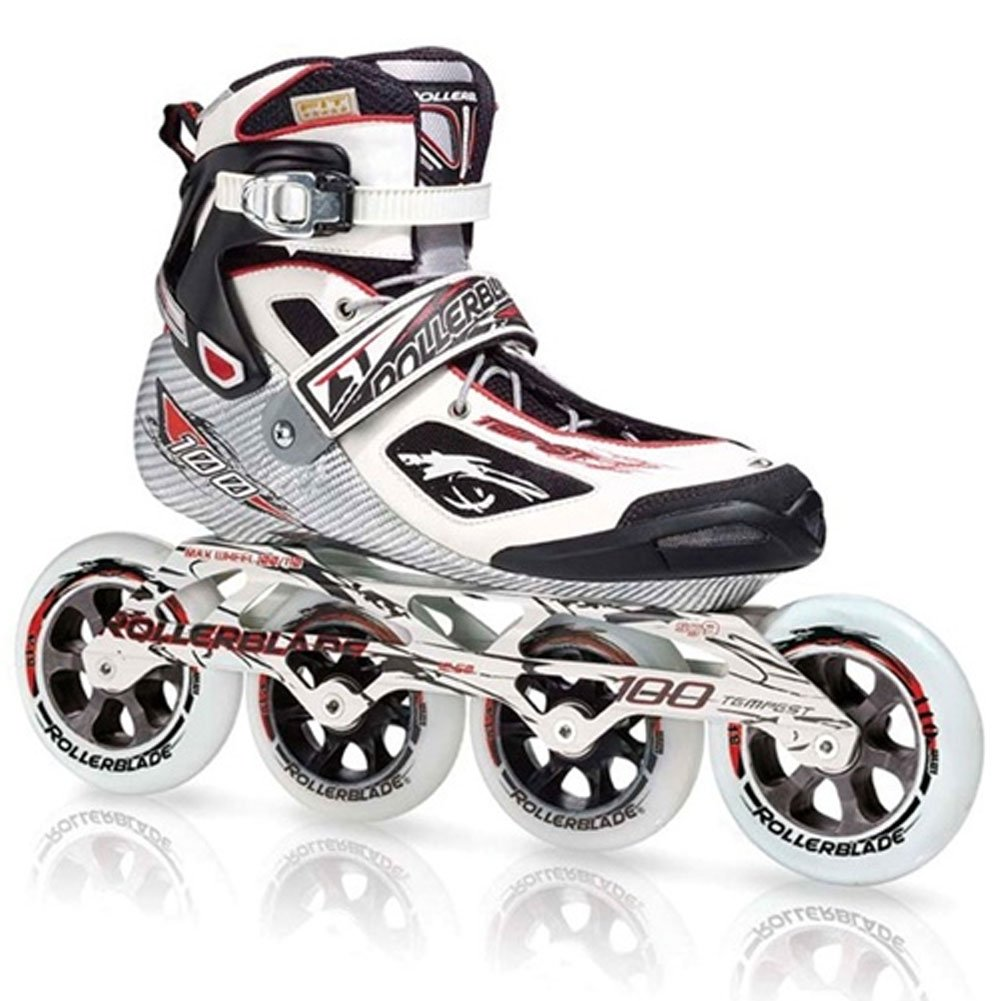 Rollerblade Tempest 100 Inline Skates Black / White with Red-12.5 by Rollerblade