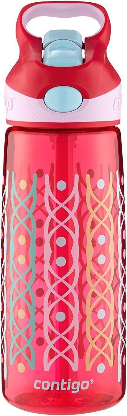 Contigo 73281 Autospout Straw Striker Kids Water Bottle Ruby Dot Weave 20 oz