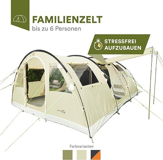skandika Gotland 6 - Tienda de campaña Familiar - mosquiteras - Suelo Cosido en Forma de bañera - túnel (beig): Amazon.es: Deportes y aire libre