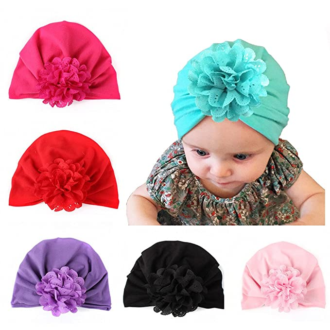 e0ee41a44091 6 Pieces Bewborn Baby Hats Infant Turban Head Wrap Floral Head Cap