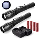 2x 2500 Lumens Led Flashlight 18650 Cree T6 Xml+battery and Charger