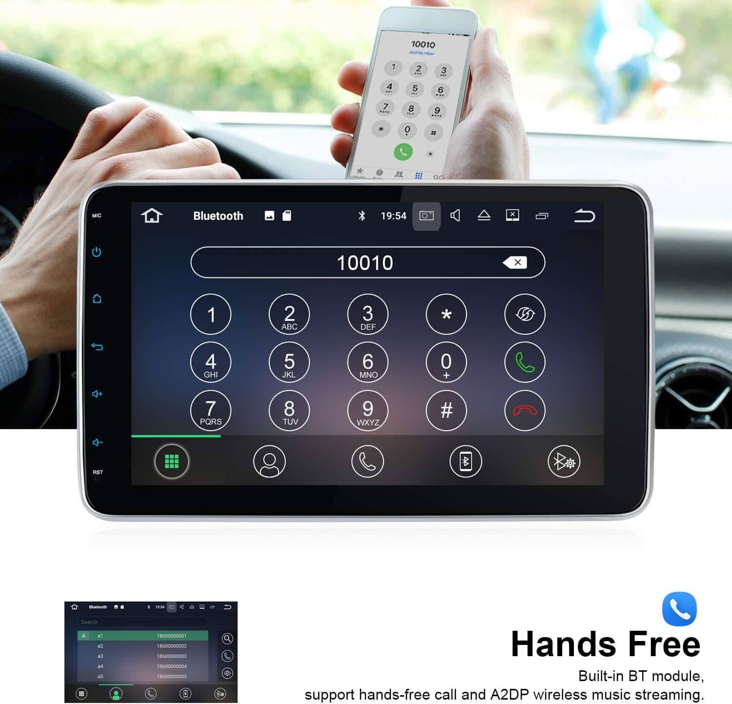 WiFi USB//SD GPS Support Android Auto Vanku Android 10 Car Stereo Double Din 10.1 Inch with 1s Fastboot Backup Camera Detachable Touchscreen OBD2