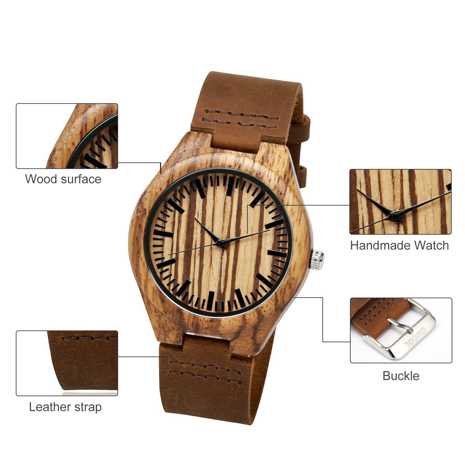 CUCOL Wooden Watches For Men Fashion Casual Watch Brown Cow Leather Strap Wood Watch With Box (Stripe) by CUCOL (Image #3)