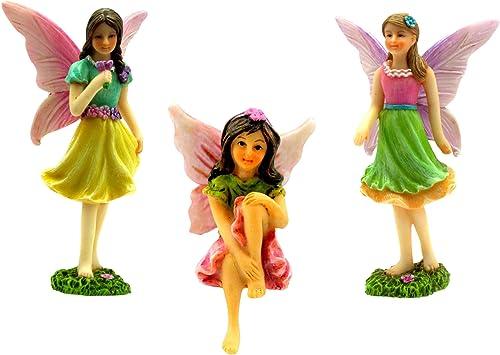 PRETMANNS Fairy Garden Fairies Kit with Miniature Accessories 3 Garden Fairies Fairy Garden Supplies