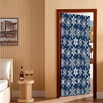 Amazon Com Snowflake Door Wallpaper Murals Crochet Style White Motifs Of Winter On Dark Background Traditional Designs Easy To Put Up Navy Blue White 31 X 79 Baby