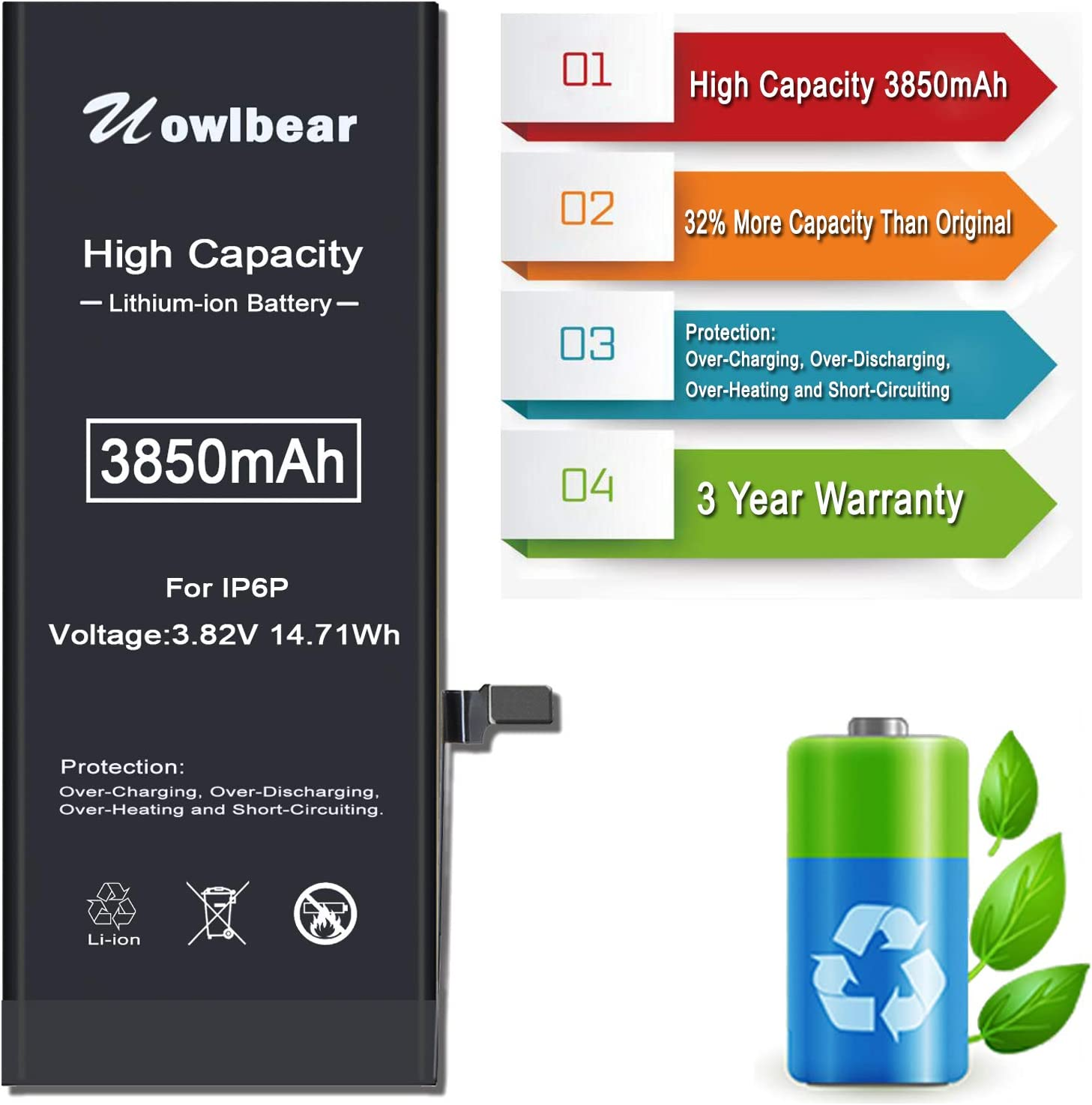 Electronics uowlbear 3850mAh Battery for iPhone 6 Plus A1522 A1524 ...