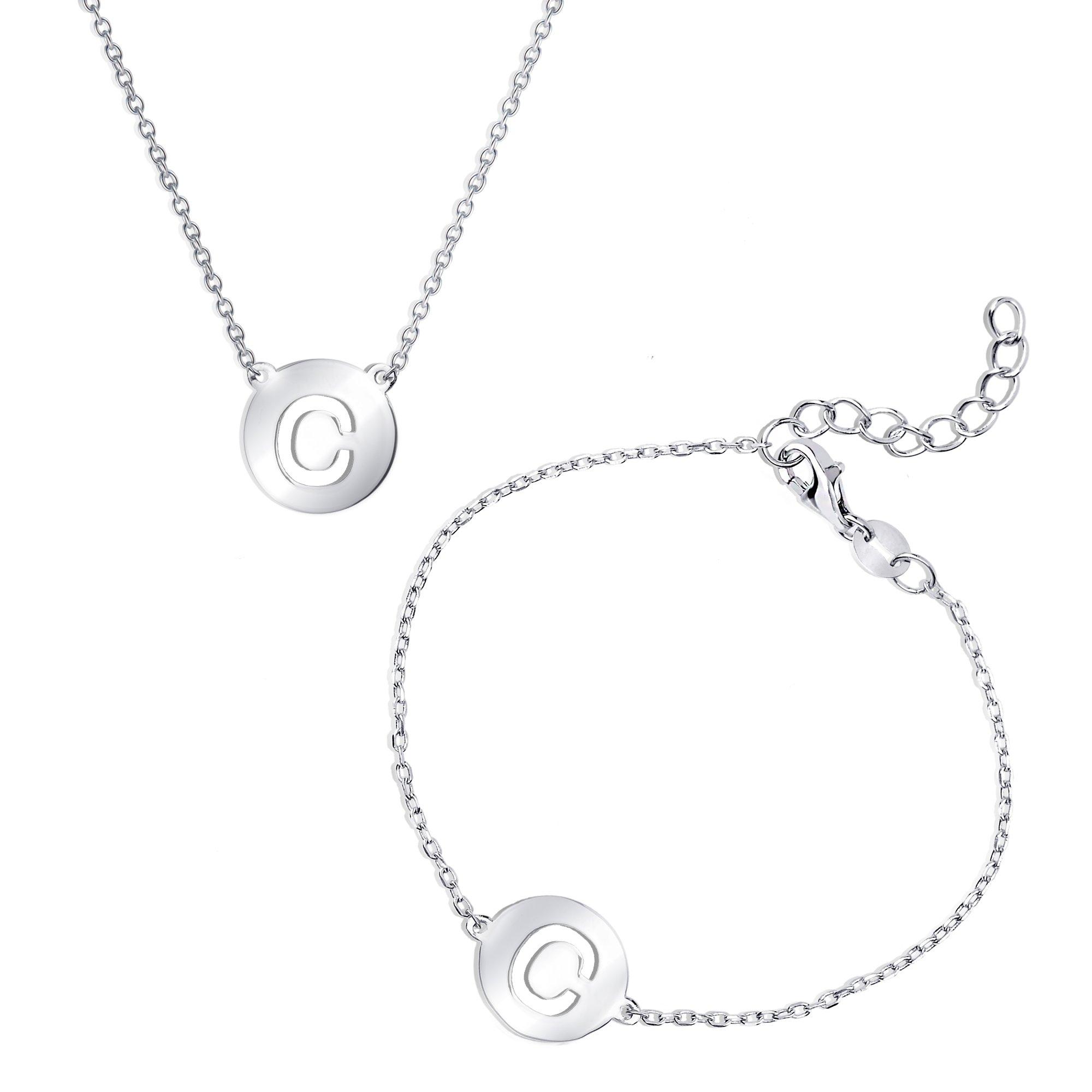 Sterling Silver Italian High Polish Intitial Disc Cut-Out Bracelet & Necklace Set (C) by Beaux Bijoux
