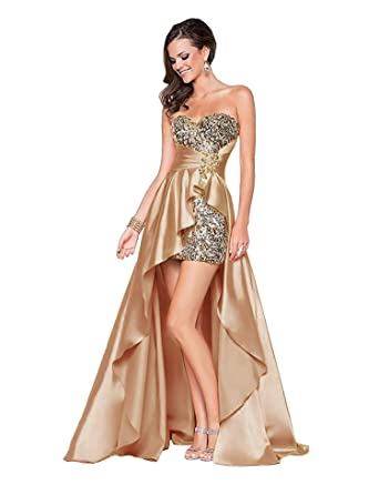 7a54a96f4778 Eyekepper Ladies Beaded Front Short Long Back Prom Evening Gown Party Dress  Champagne