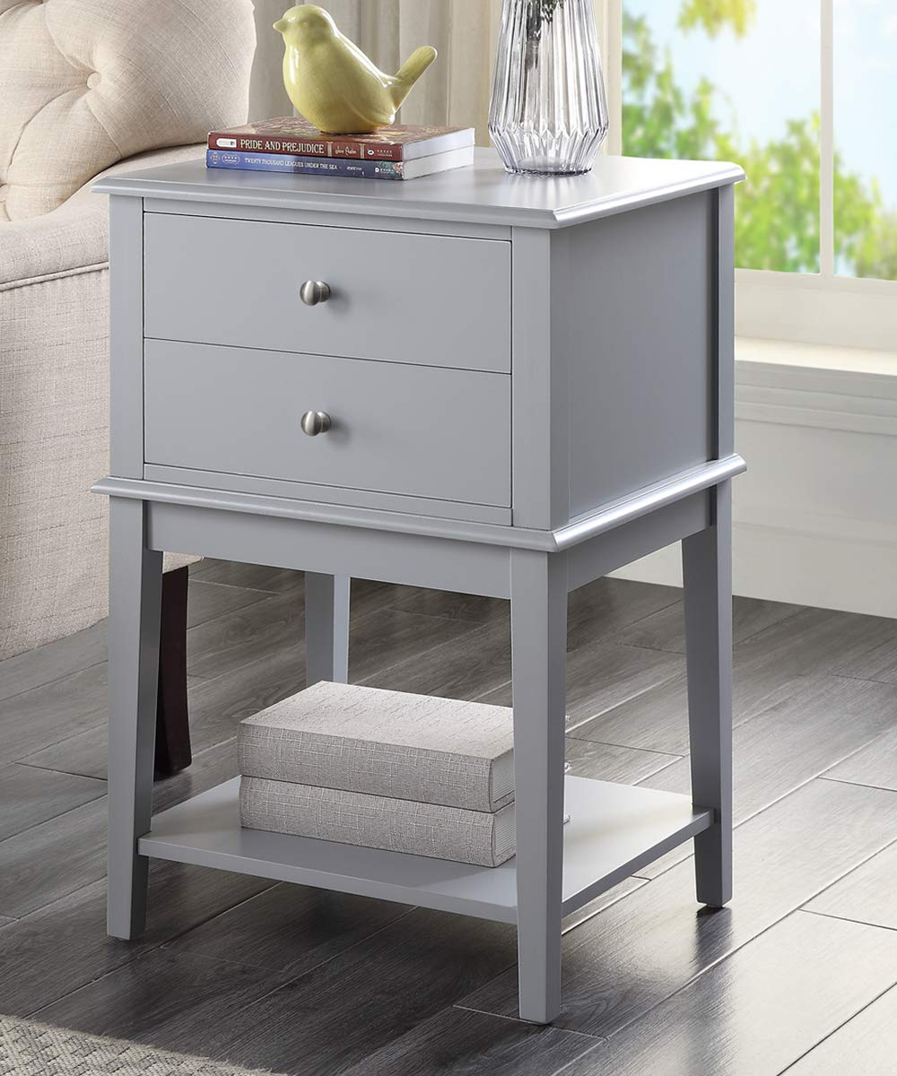 Coniffer Night Stand Modern Wood End Table with Drawer and Storage Shelf for Bedroom Gray