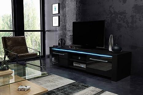 Manhattan mobiletto porta tv nero opaco e nero lucida