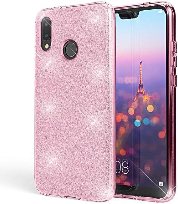 """Image ofCoovertify Funda Purpurina Brillante Rosa Xiaomi Mi A2, Carcasa Resistente de Gel Silicona con Brillo Rosa para Xiaomi Mi A2 (5,99"""")"""