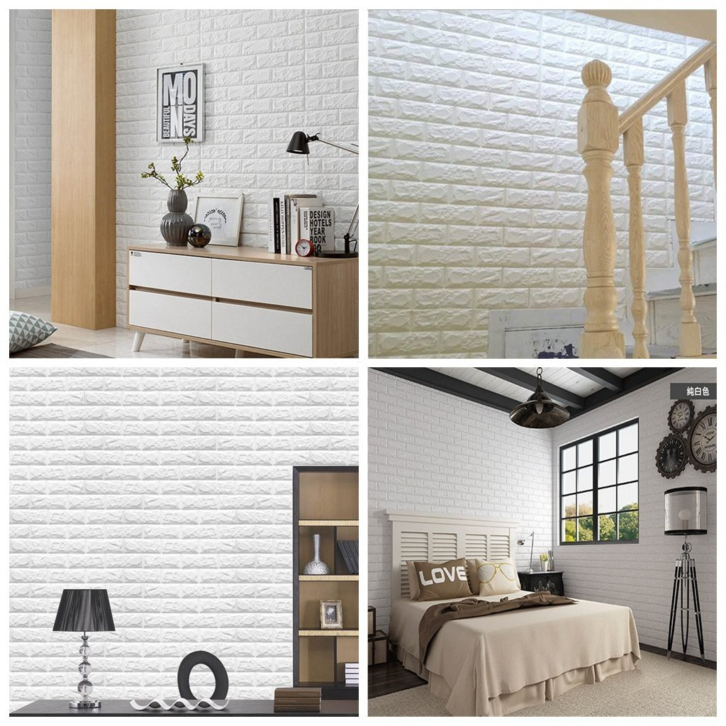 Arthome wall decor limited Arthome White Brick 3D Wall Panels Peel and Stick Wallpaper for Living Room Bedroom Background Wall Decoration 10 Pack, White 56.9 sq feet