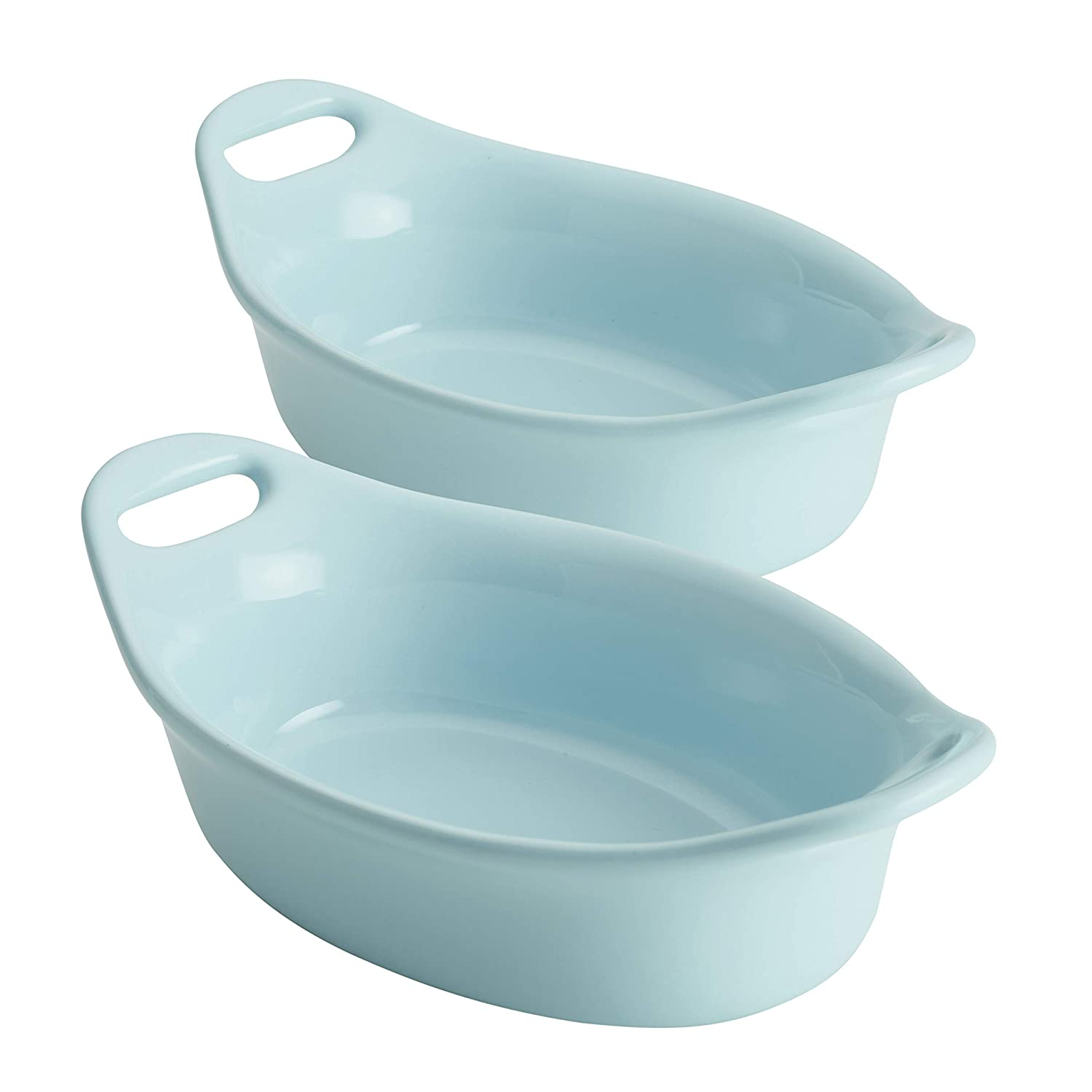 Rachael Ray 47854 2-Piece Stoneware Au Gratin Set, Light Blue