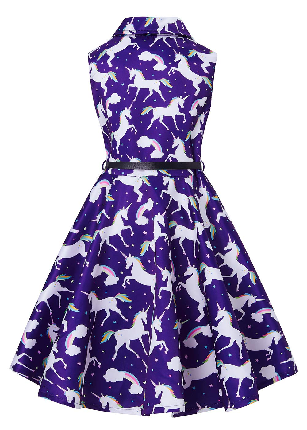 RAISEVERN Girls Unicorn Rainbow Dress Slim Fit Waist Knee Length A-Line Sleeveless Dresses with Belt Dark Navy Blue Purple