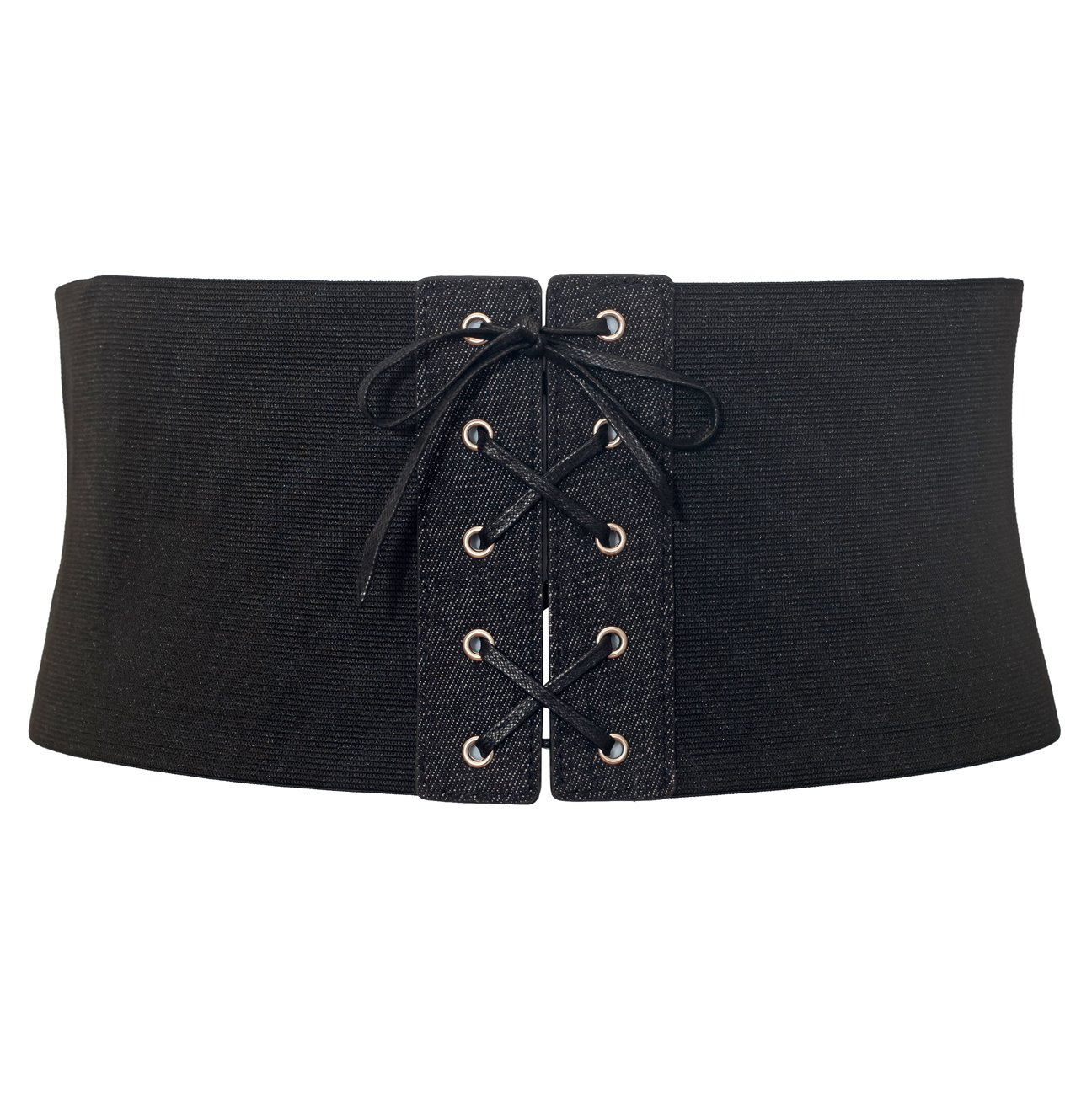 eVogues Women's Corset Style Wide Elastic Belt Black Denim - One Size Junior by eVogues Apparel