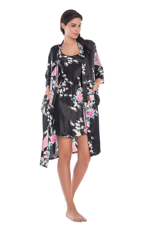 f3388821be Joy Bridalc Women s Kimono Robe Gorgeous Loungewear 2PC Set Sleepwear  Camisole   Robe at Amazon Women s Clothing store