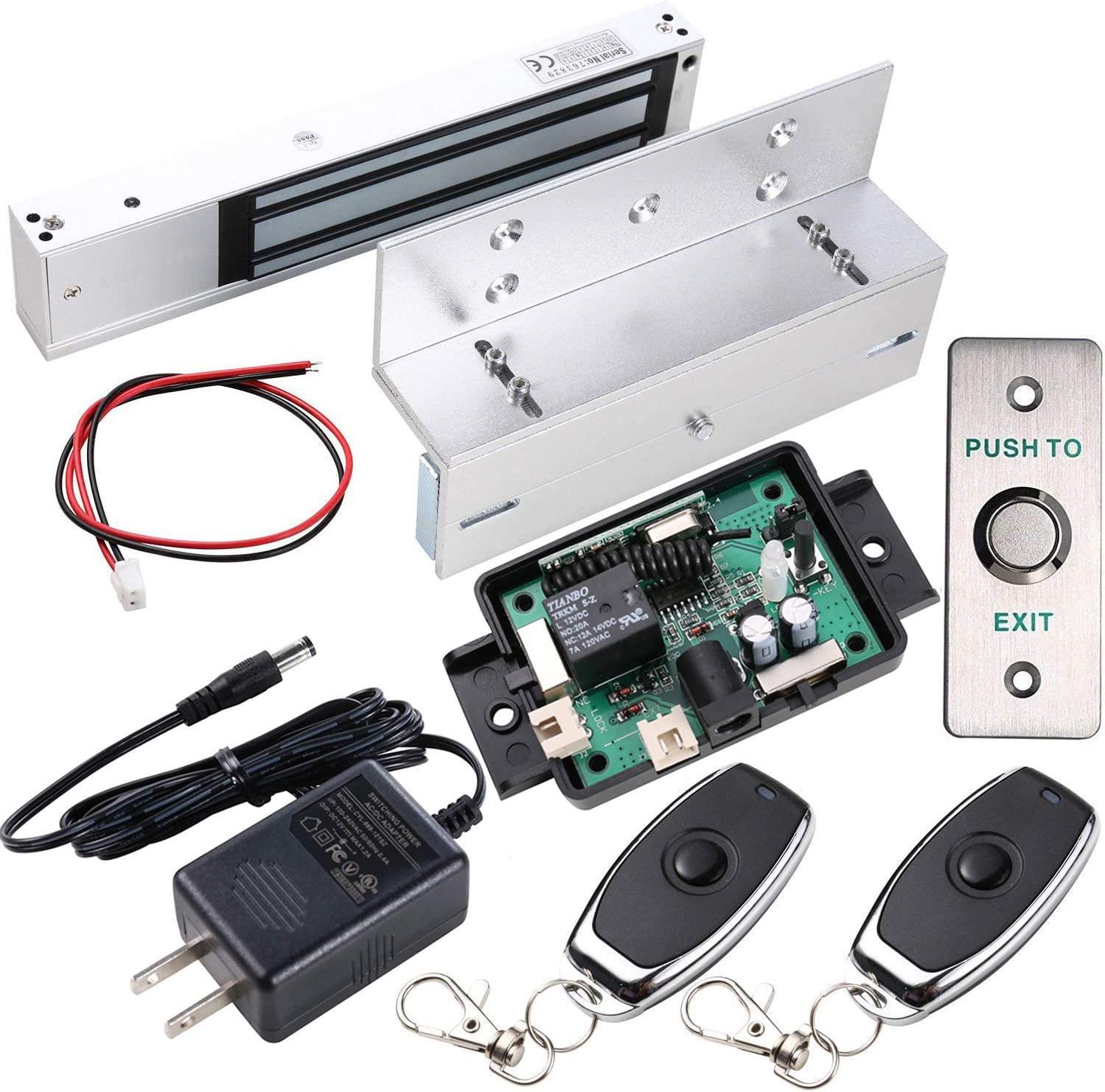 UHPPOTE Access Control Inswinging Door 600Lbs Electromagnetic Lock Kit with Bracket Remote Control