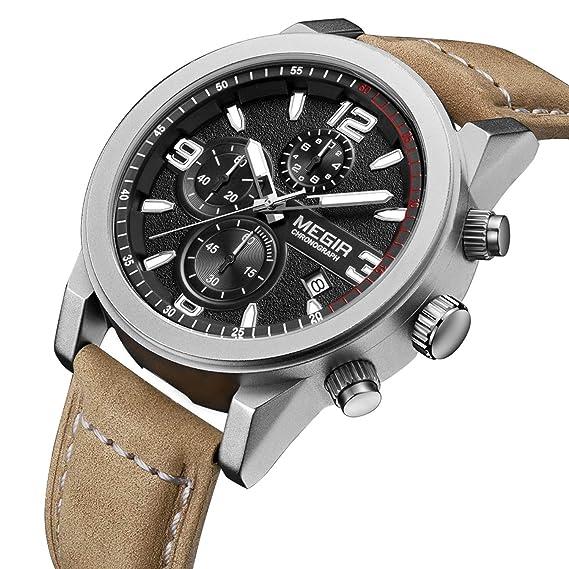 MEGIR Cronógrafo Reloj de Pulsera Impermeable de Cuero para Hombres Calendario de Mano Luminosa Movimiento japonés: Amazon.es: Relojes