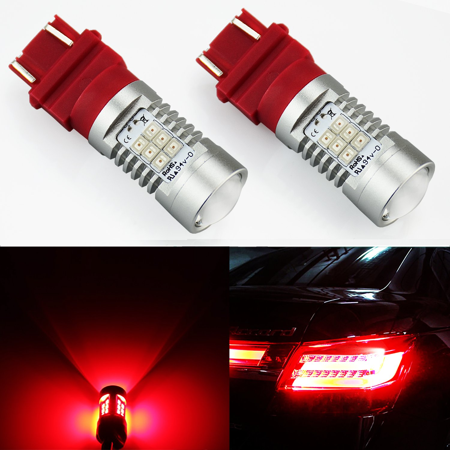 JDM ASTAR Extremely Bright PX Chipsets 3056 3156 3057 3157 LED Bulb For Brake Light Tail lights Turn Signal, Brilliant Red