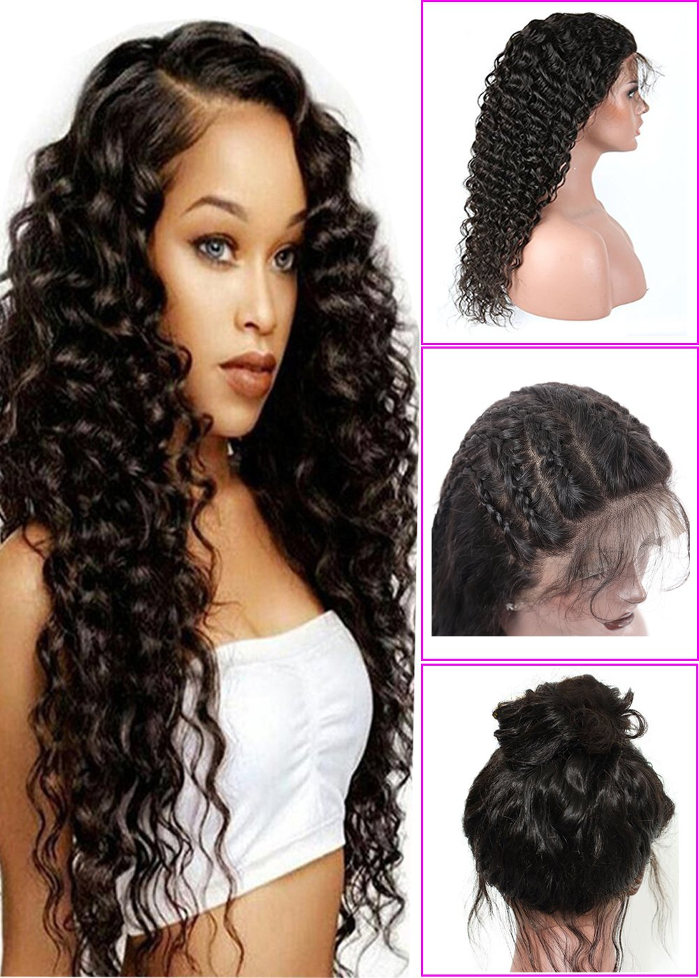 b865a6da5cb Younsolo Deep Wave Lace Front Wigs 20 inch Unprocessed Brazilian Virgin  Human Hair Wig Pre Plucked...