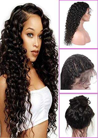 Amazon.com   Brazilian Deep Wave Lace Front Wigs Brazilian Virgin Remy  Human Hair Deep Wave Wigs with Baby Hair For Black Women 16 inch Lace Front  Wig   ... 89d3d2f87