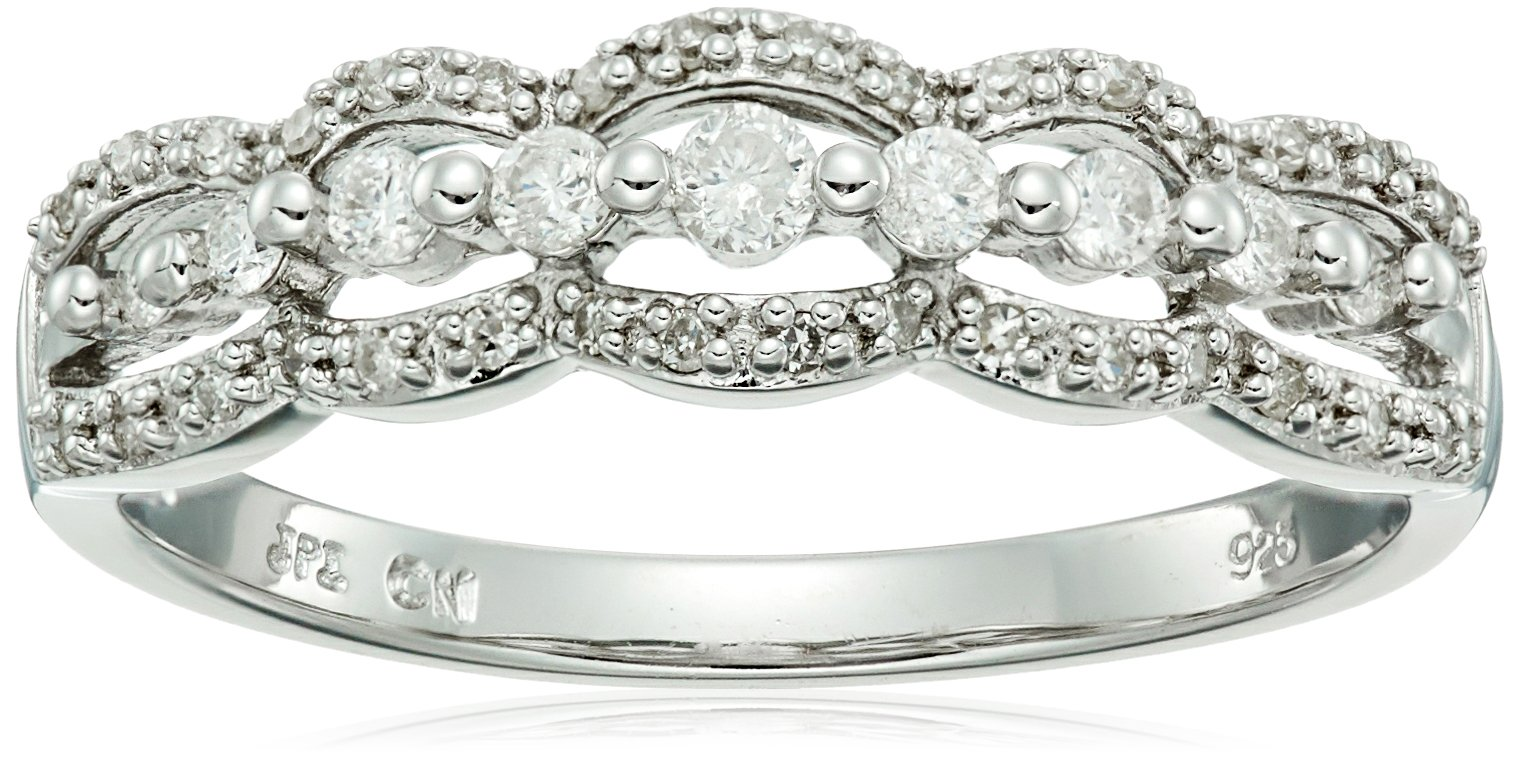 Sterling Silver Wave Diamond Ring (1/4cttw, I-J Color, I2-I3 Clarity), Size 7