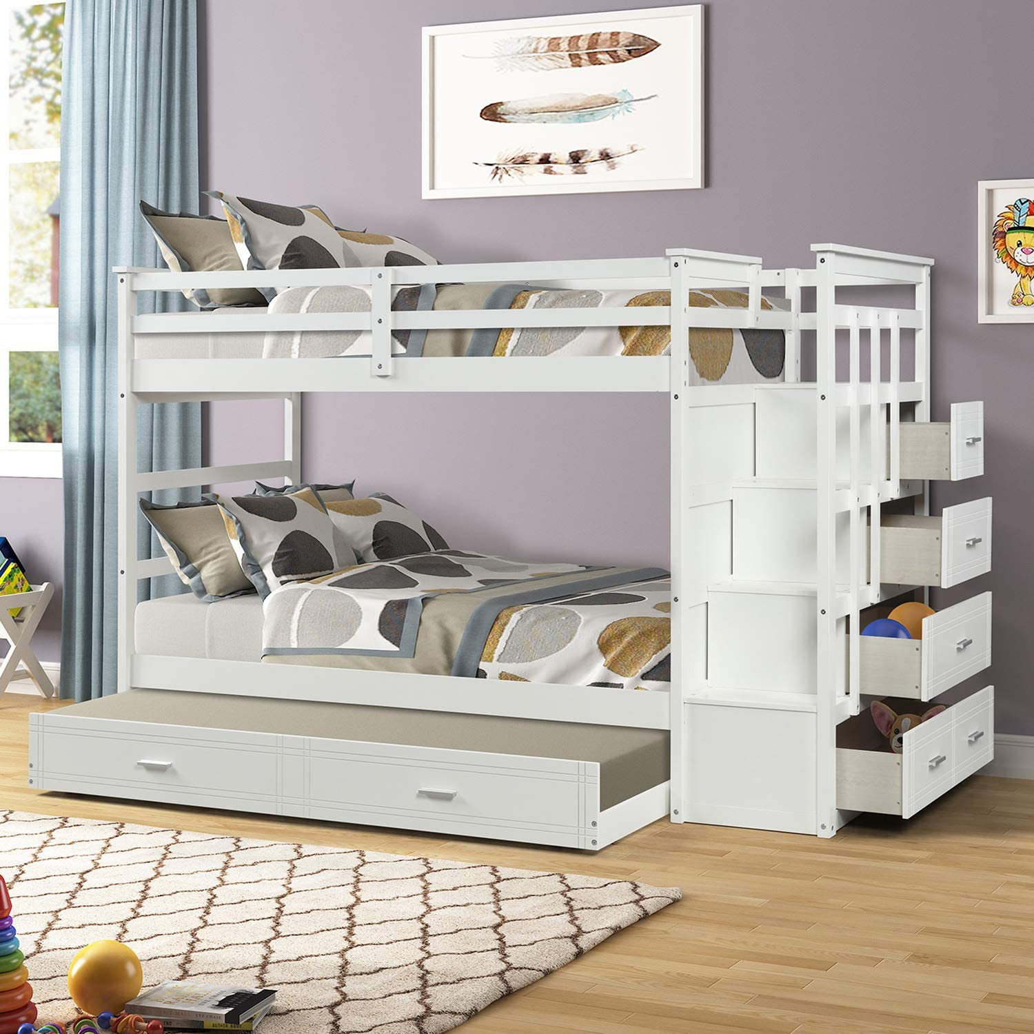 P PURLOVE Twin Over Twin Bunk Bed Wood Bunk Bed for Teens Girls Boys with Trundle Bed and Staircase and Storage Drawers, White