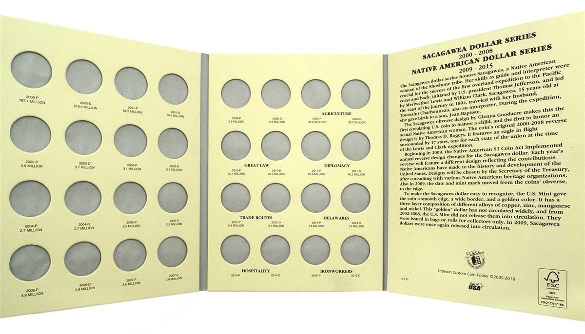 1-2000 2015 and 2016 - Present Sacagawea//Native American Dollar Coin 2 Folder Set Holds 64 Coins