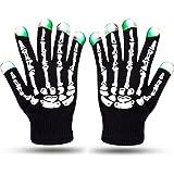 Flykul LED Gloves LED Skeleton Gloves LED Lighted Gloves Black Knit Gloves 6 Modes LED Strobe Full Fingers Flashing Fingertips Halloween Costume Christmas Dance Dubstep Party Birthday