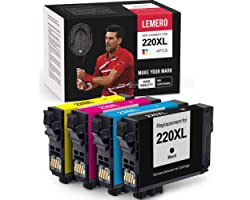 LEMERO Remanufactured Ink Cartridge Replacement for Epson 220 220XL - for Epson Workforce WF-2750 WF-2760 WF-2630 WF-2650 XP-